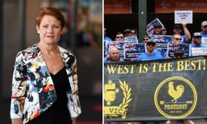 Composite: Pauline Hanson and the Proud Boys