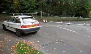The cordoned off woodland area of Rickmansworth where Magill was shot.