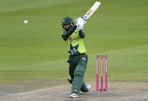 Hafeez sends it for six.