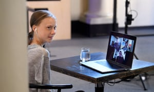 Greta Thunberg in videolink conversation with Johan Rockström to mark the 50th anniversary of Earth Day.
