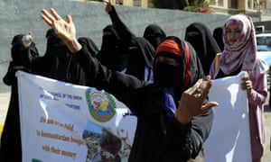 Yemenis shout anti-Saudi slogans during a rally protesting Saudi-led military operations in Sana'a.