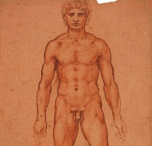 Detail from Study of a Male Nude by Leonardo da Vinci, c1504-06, from the Royal Collection.