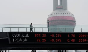 An electronic board showing the CBOT soybean futures on a pedestrian overpass at Lujiazui financial district in Shanghai today