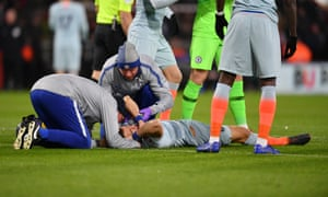 David Luiz receives medical treatment during Chelsea's Premier League match at Bournemouth.
