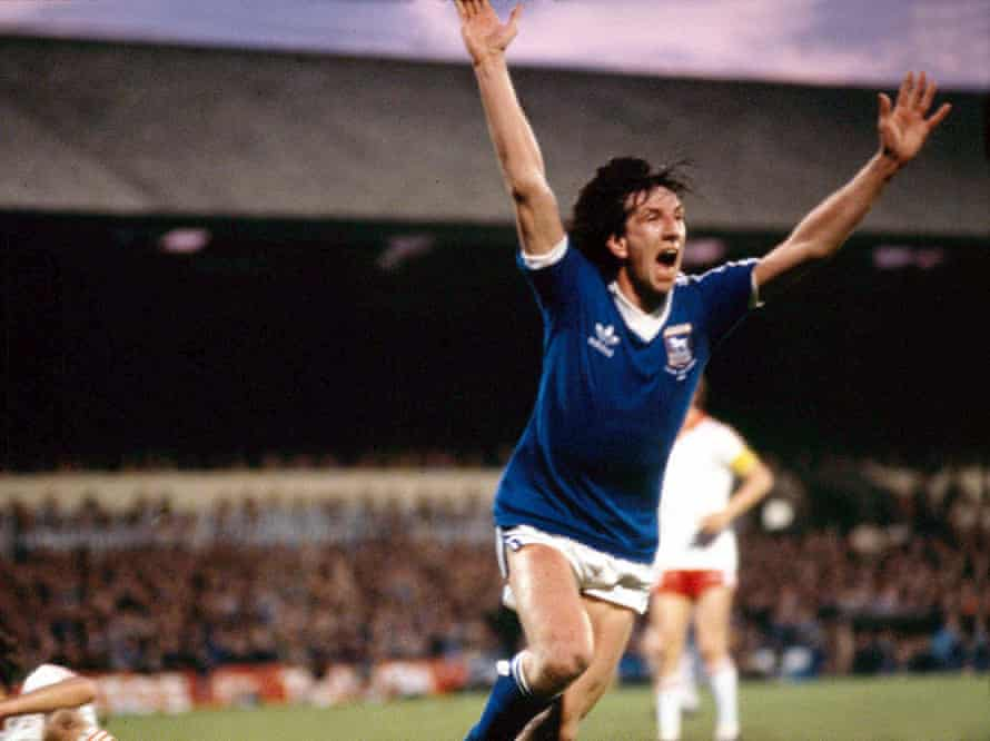 Paul Mariner celebrates his goal for Ipswich against AZ Alkmaar ion the first leg of the Uefa Cup final in 1981.
