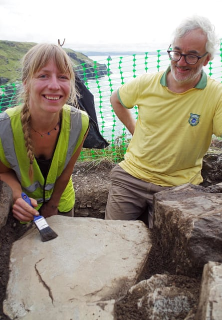 English Heritage's Megan Val Baker and John Gould, of Cornwall Archaeological Unit, at Tintagel.