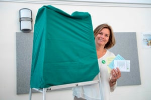 Swedish Minister for International Development Cooperation and Climate, and Deputy Prime Minister Isabella Lövin casts her vote