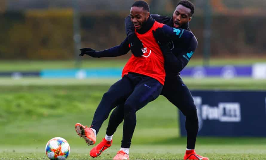 Raheem Sterling and Danny Rose in England training