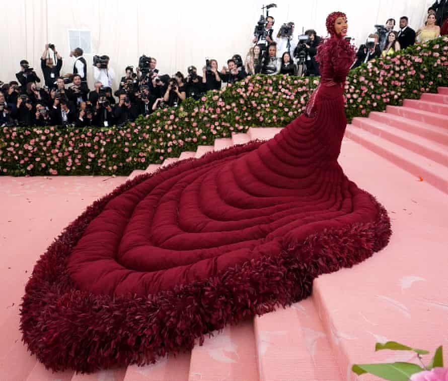 Feathery fun: Cardi B's Met Gala gown.