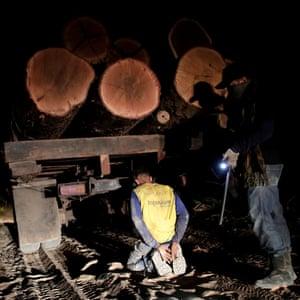 Guajajara Indian forest guardians detain a logger on Arariboia indigenous land near the city of Amarante, Brazil, 17 September