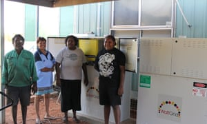 Some of the Barkly community with the recently installed battery storage.