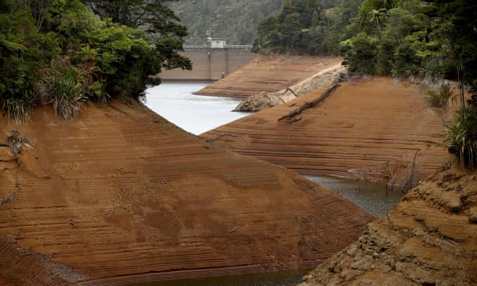 The Upper Nihotupu dam in the Waitakere Ranges pictured at 30% capacity during a drought in May 2020.