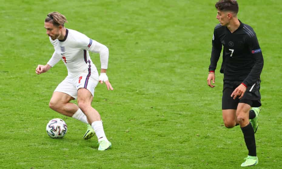 Jack Grealish evades Kai Havertz of Germany in the last-16 game at Wembley won 2-0 by England.
