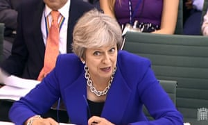 Screengrab from footage of Theresa May appearing before the liaison committee in the House of Commons