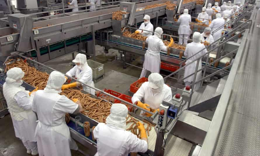 Processing sausages at a German plant