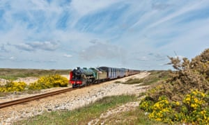 A steam train at Dungeness on the Romney, Hythe & Dymchurch Railway.