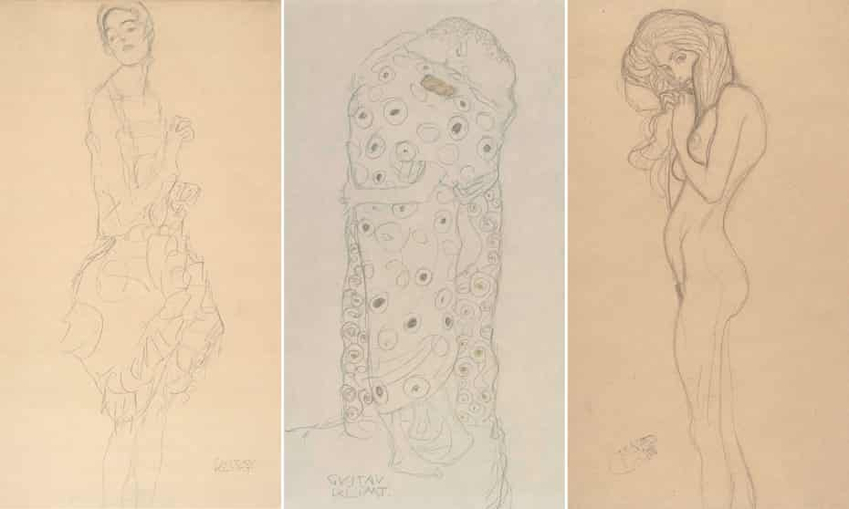 Gustav Klimt's Study for The Dancer (Ria Munk II), 1916-17; Standing Pair of Lovers, 1907-08; and Standing Female Nude (Study for The Three Gorgons; Beethoven Frieze), 1901.