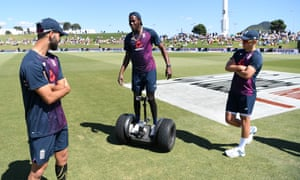 Jofra Archer rides a segway before the first day's play at Mount Maunganui.