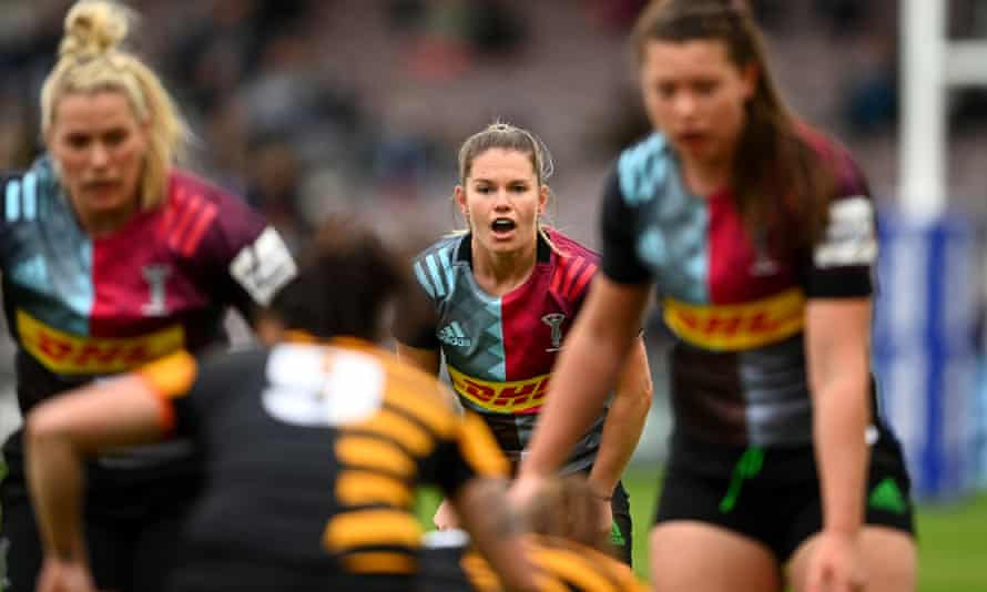 Harlequins and England scrum-half Leanne Riley (centre) says her side 'haven't performed' in previous Premier 15s finals.