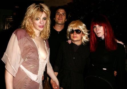 Courtney Love, Laura Albert's then husband, Geoffrey Knoop, Savannah Knoop dressed as JT LeRoy and Albert in character as Speedie, JT LeRoy's manager