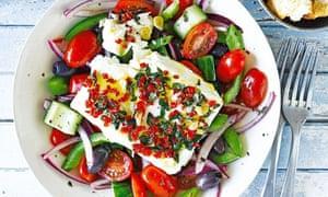Greek salad with vegan feta