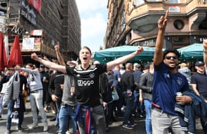 Ajax fans having themselves a day in Leicester Square earlier this afternoon.