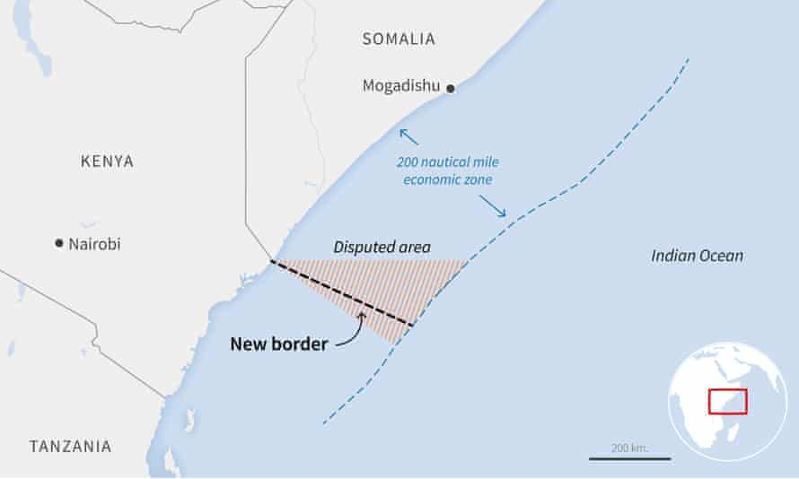 The new maritime boundary drawn by the UN international court of justice