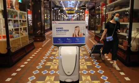 Hand sanitiser point in shopping centre