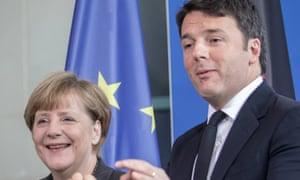 Matteo Renzi with Chancellor Angela Merkel