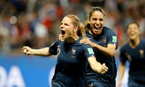 Eugénie Le Sommer celebrates after scoring the hotly debated penalty against Norway to all but secure France's place in the knockout phase of the Women's World Cup.