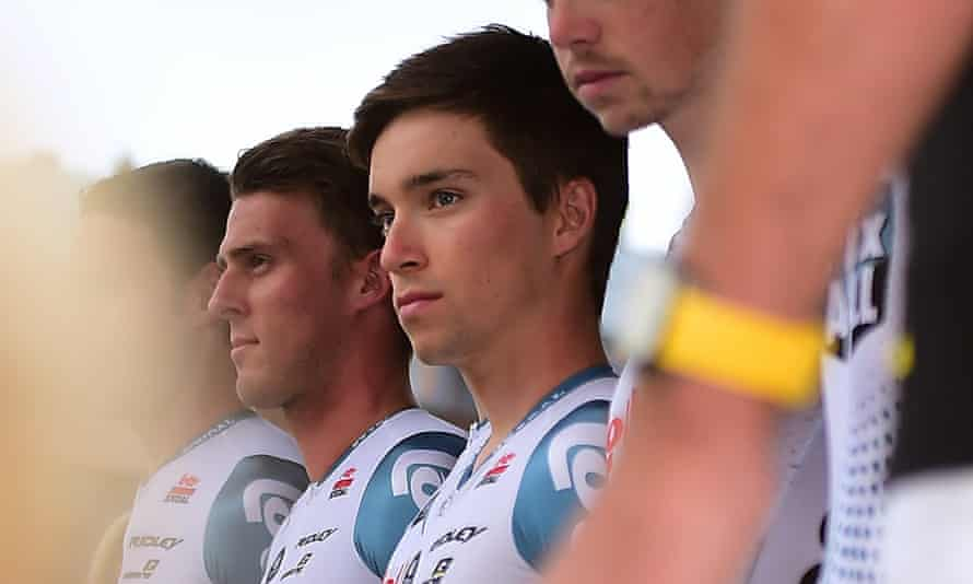 Bjorg Lambrecht, centre, pictured during the Lotto Soudal team presentation before the Tour of Poland.