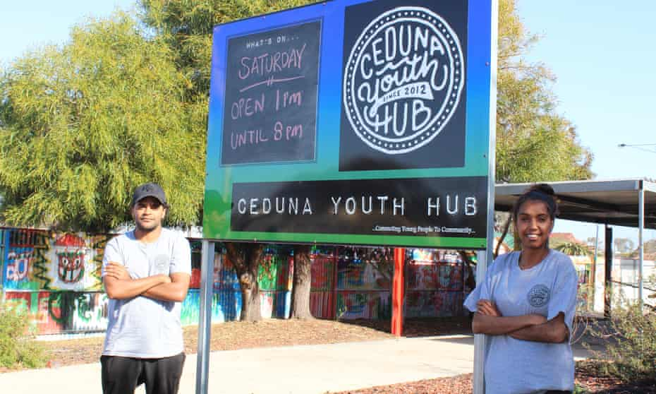 Youth mentors Dee-anne Gray (right) and Stanley Willis at Ceduna Youth Hub.
