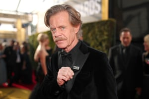 Actor William H Macy was one of the first stars to arrive, proudly showing off his #TimesUpNow badge - now available to preorder at at https://store.timesupnow.com/ with all profist going to the initiative's legal defense fund.