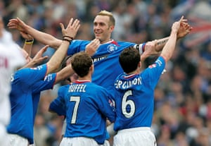Fernando Ricksen after scoring against Motherwell during the 2005 Scottish League Cup final.