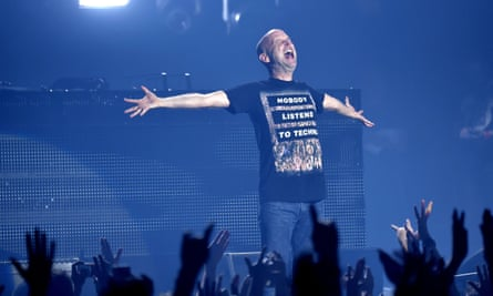 Moby performs in France. Touring, he says, is dangerous.