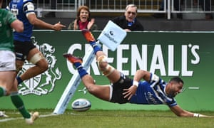 Bath wing Joe Cokanasiga dives over for his team's second try during their victory over Newcastle.
