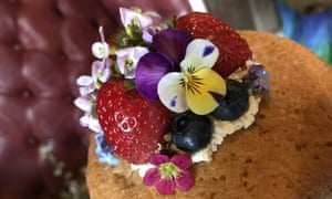 Fruit and  foraged flowers on a cake