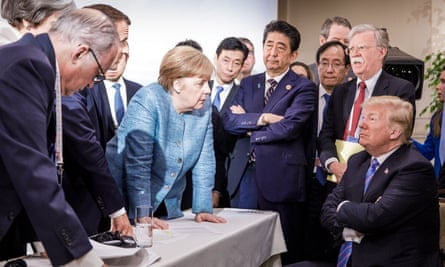 'Last weekend Trump got something right.' Donald Trump, Angela Merkel and other G7 leaders in Quebec, Canada.