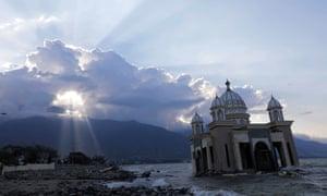 A damaged mosque near Talise beach.