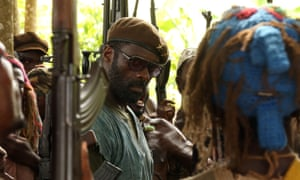 Idris Elba in the Netflix film Beasts of No Nation, directed by Cary Fukunaga.