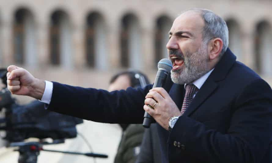 Nikol Pashinyan addresses a rally of his supporters at Republic Square in central Yerevan