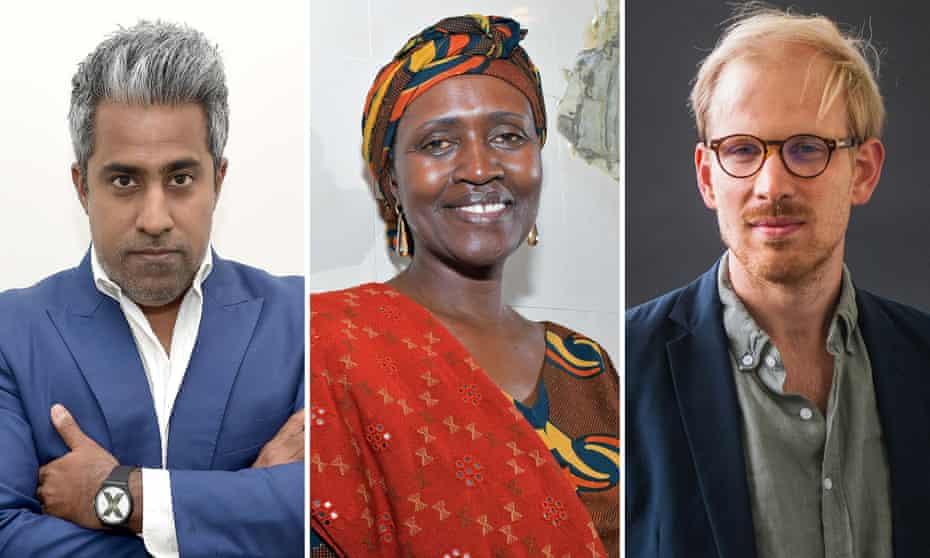 In conversation … Anand Giridharadas, Winnie Byanyima and Rutger Bregman.