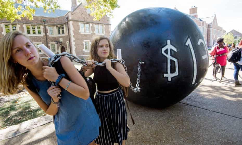 Students demonstrate at Washington University in St. Louis, Missouri.