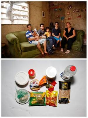 Yunni Perez (R) posing for a picture next to her relatives (L-R) Carlos Acosta, Adrian Gonzalez, Luis Oliveros, Luis Oliveros and Hector Acosta (top) and the food they have at their home in Caracas, Venezuela April 22, 2016.