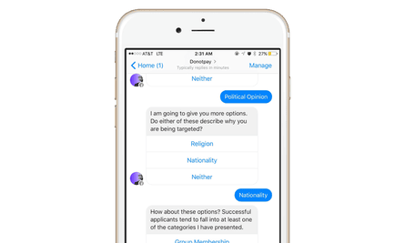 DoNotPay, a chatbot initially set up to challenge parking fines, can now help refugees submit asylum applications using Facebook Messenger.
