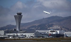 A plane takes off from San Francisco international airport on 9 September 2019.