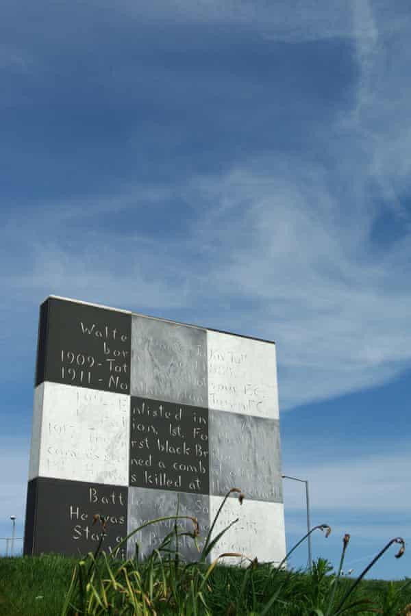 The memorial at Sixfields Northampton to Walter Tull