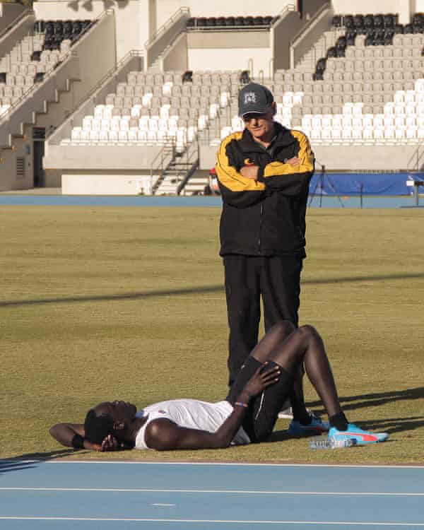 Mangar Makur Chuot with coach Lindsay Bunn, who discovered him running in a park