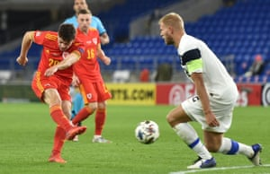 Daniel James of Wales scores to make it 2-0.