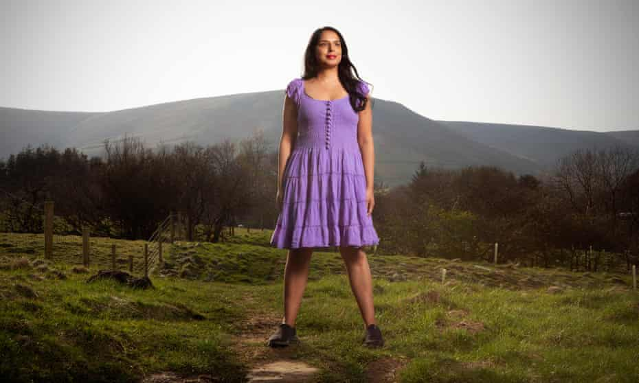 Anita Sethi photographed near Edale in the Peak District, Derbyshire.